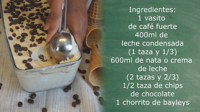 Ingredientes helado de café y baileys con pepitas de chocolate