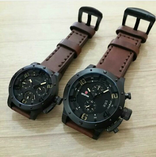 Jam Expedition Couple Warna Coklat