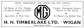 H H Timberlake Ltd MG dealership advert from 1934