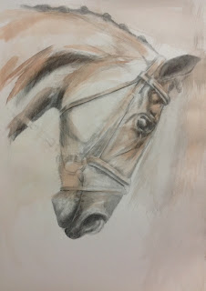 Listening, contemporary equestrian art, horse painting, equine art