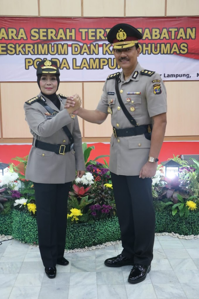 Kapolda Lampung Pimpin Sertijab Kabid Humas Dan Dirreskrimum