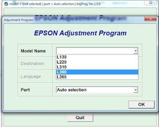 Epson L360 adjustment program