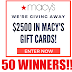 Macy's Gift Card Giveaway!! 50 Winners Win $100, $50 or $20. Limit One Entry Per Person, Ends 7/15/18
