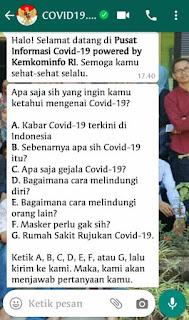Nomor WA pemerintah untuk info covid-19
