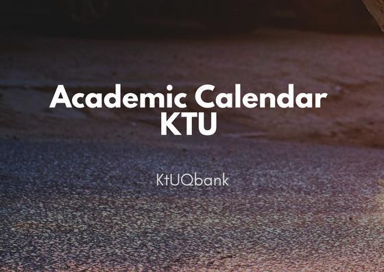 Academic Calendar | KTU | 2020 - 2021