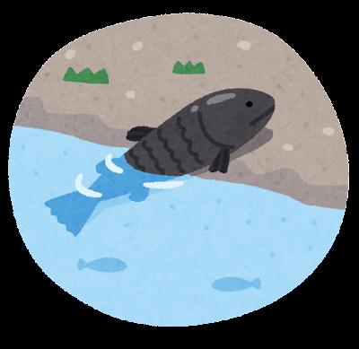 陸に上がる古代魚のイラスト