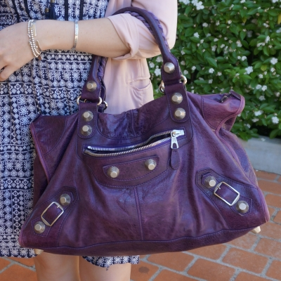 blue dress, pink blazer, Balenciaga purple G21 silver hardware work bag | awayfromtheblue