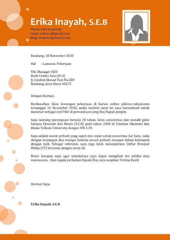 Contoh Surat Lamaran Kerja pdf menarik