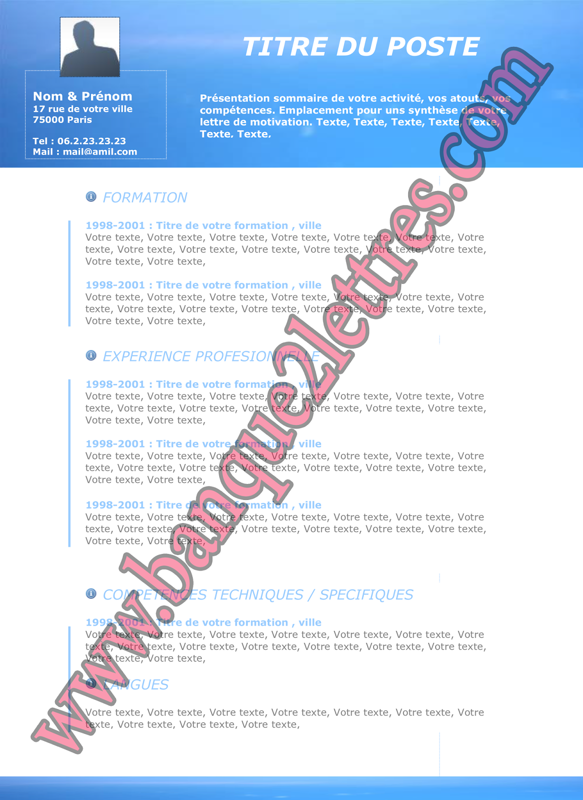 Telecharger Curriculum Vitae Pdf Gratuit Resume Cover