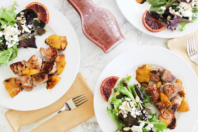 Grilled Pork & Mango Kabobs and Spring Salad with Blood Orange Vinaigrette