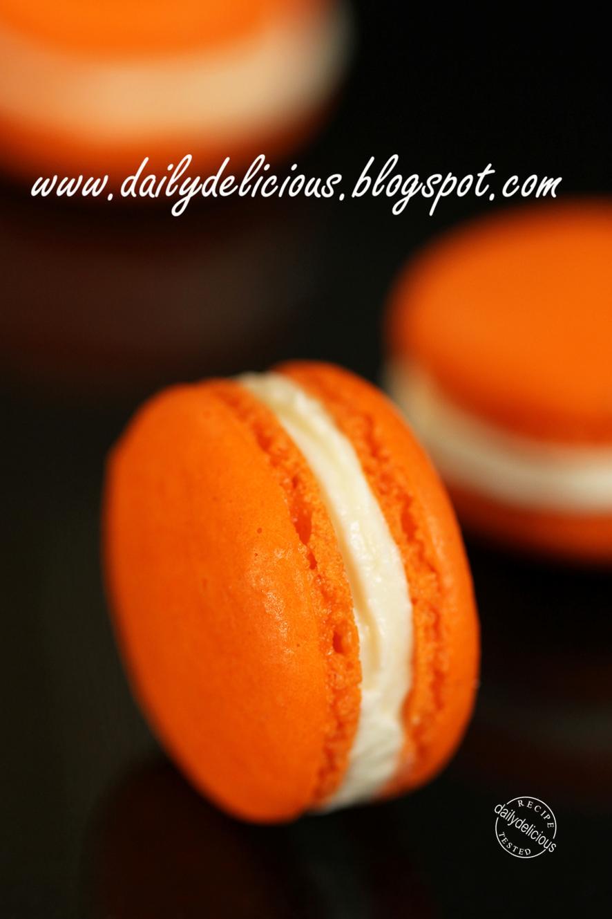 dailydelicious Orange Macaron with Cream cheese filling