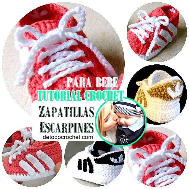Zapatillas Crochet tipo Adidas Para Bebé / Tutorial | Todo crochet