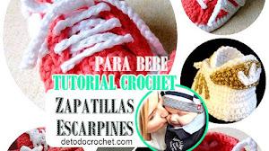 Zapatillas Crochet tipo Adidas Para Bebé / Tutorial