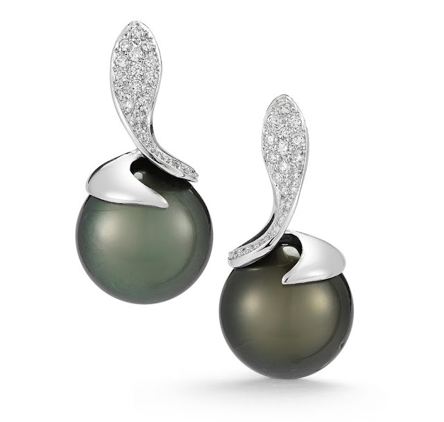 White Gold Diamond Black Tahitian Pearl Earrings