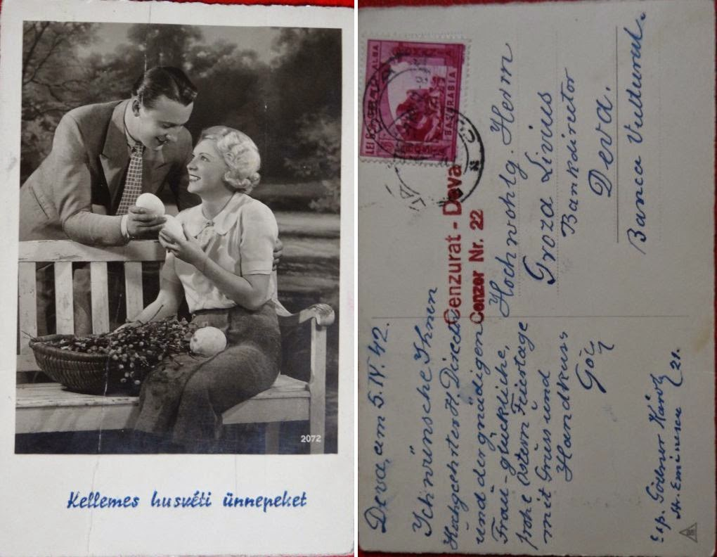 felicitare Paste Deva foto imagine carte postala cenzurata 1942 si mesajul tradus din germana