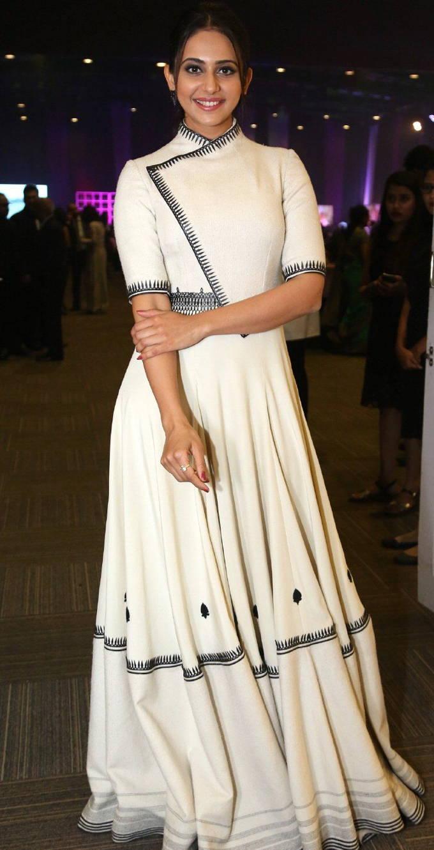 Rakul Preet Singh Hot Looking Oily Face Stills In White Dress