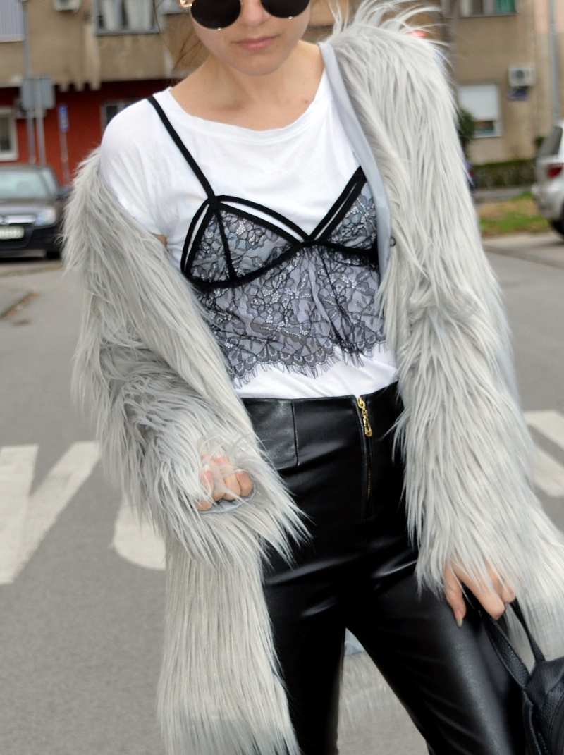 leather pants lace bralette