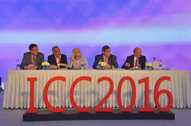 L-R, Dr John Puskas, Dr Kunal Sarkar, Dr David Taggart, Dr Richard Shermin and Dr Praveen Chandra at the International Coronary Congress at Taj Palace