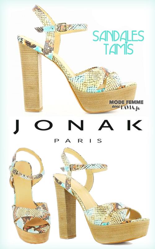 Sandales à talons compensées en cuir reptile beige et bleu JONAK