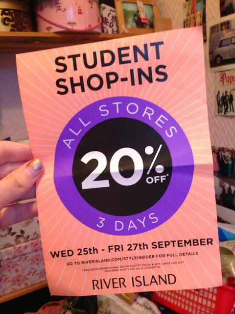 a leaflet from River Island with details of their student discount event at the end of september