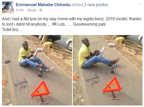 Hilarious photos: Nigerian man whose 'Legediz Benz' had a flat tyre ...