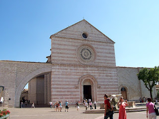 The façade of the Basilica of St Clare in Assisi