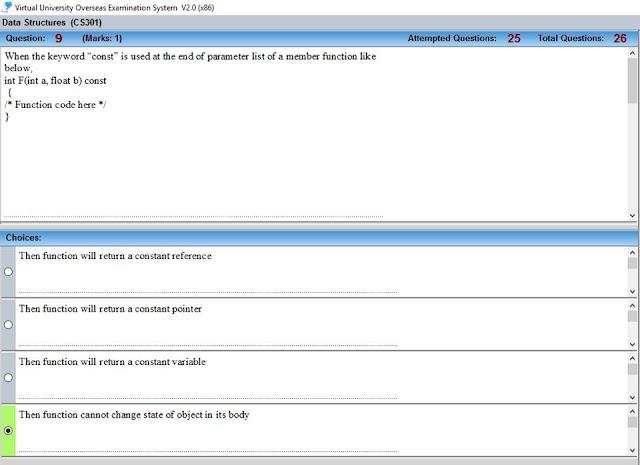 CS301 Current Mid Term Paper Question no 16