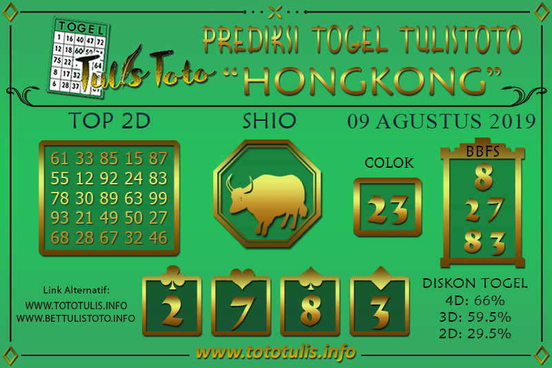 Prediksi Togel HONGKONG TULISTOTO 09 AGUSTUS 2019