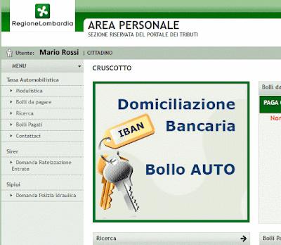 Domiciliazione Bancaria del Bollo Auto - Area Personale