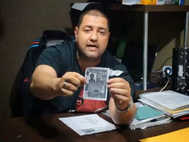 Félix Bonfim mostra fotocópia da carteira de motorista de Francisco Gorgulho Fernandes, representante da NeoNutri. Foto: Divulgação