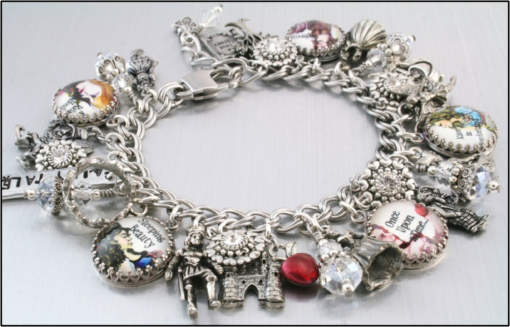 Once Upon A Time Fairy Take Charm Bracelet Cinderella Jewelry Red Riding Hood Sleeping Beauty