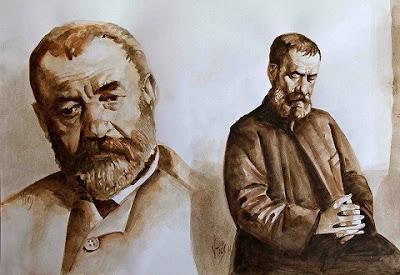 Πίνακας ζωγραφικής Προσωπογραφία του Αλέξανδρου Παπαδιαμάντη Κώστας Ντίος (Σύγχρονος ζωγραφος)
