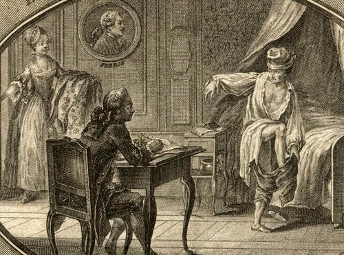 Huber, Le Lever du philosophe de Ferney. Au mur, la tête de Turc Fréron.  Gallica 78369346a8c