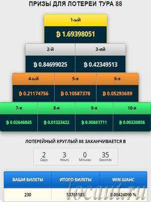 Размер вознаграждения в лотереи и количество ваших билетов