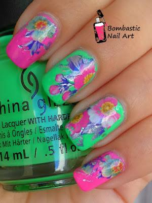 Transfer foil Flower nail art