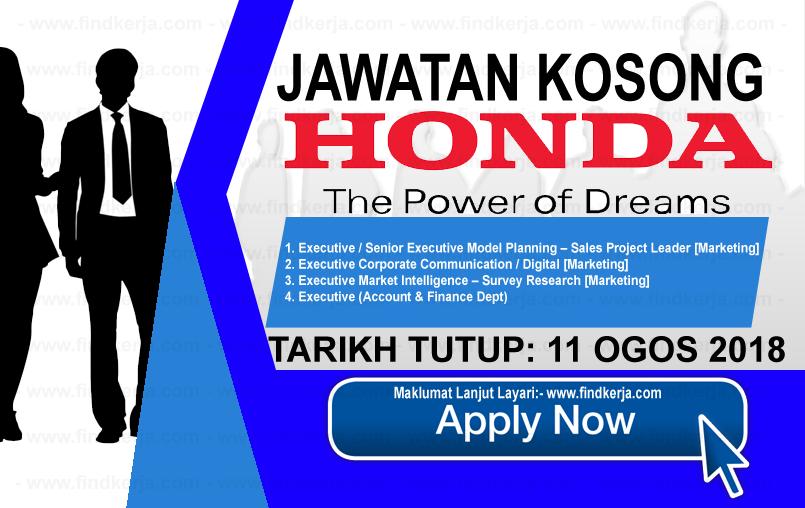 Jawatan Kerja Kosong Honda Malaysia logo www.ohjob.info www.findkerja.com ogos 2018