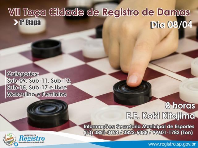 VII Taça Cidade de Registro-SP de Damas acontece neste sábado (08/04)