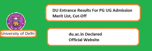du.ac.in, DU Result 2019, entrance test result, cut off marks