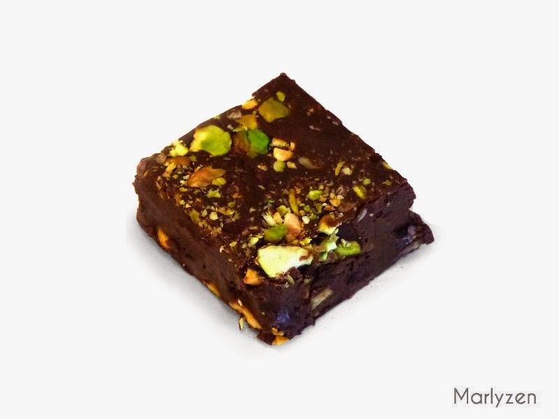 Fudge au chocolat - pistache.