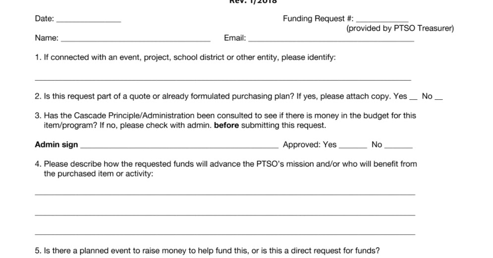 Cascade Community Chest PTSO Funding Request Form