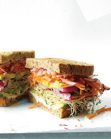 This veggie sandwich is loaded with fresh ingredients and tasty bread.