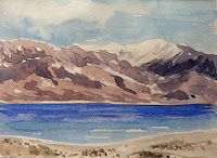water colour study work of Pangong lake by Manju Panchal