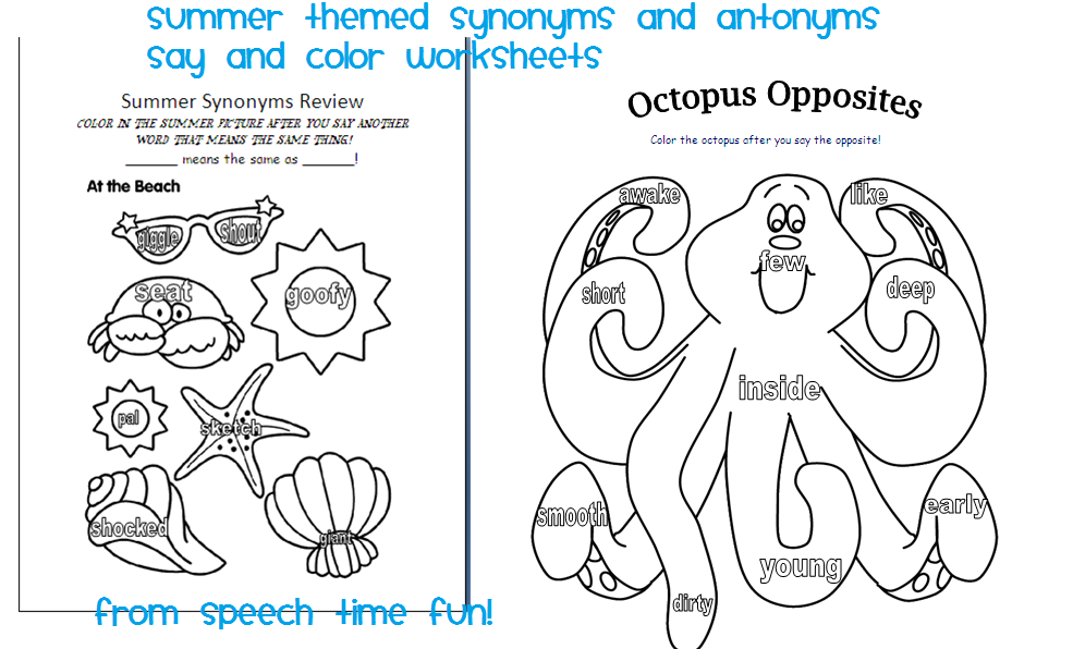 Summer themed say and color worksheets for Summer themed coloring pages