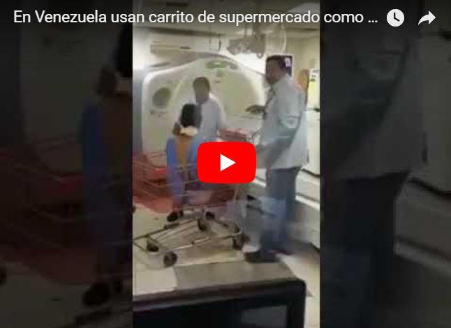 Carrito de supermercado utilizado como Camilla en hospitales de Venezuela