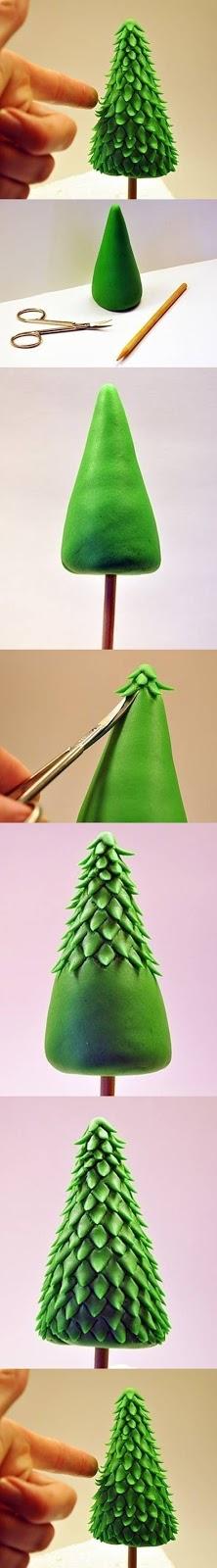 Tutorial brad verde realizat din fimo si modelat manual