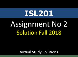 ISL201 - Islamic Studies Assignment No 2 Solution Fall 2018