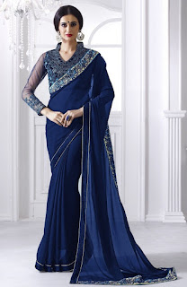 Blue Faux Georgette Embroidered Saree With Butta Work