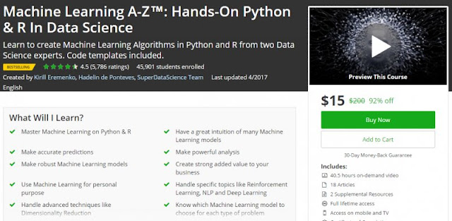 [BESTSELLING] Machine Learning A-Z™: Hands-On Python & R In Data Science