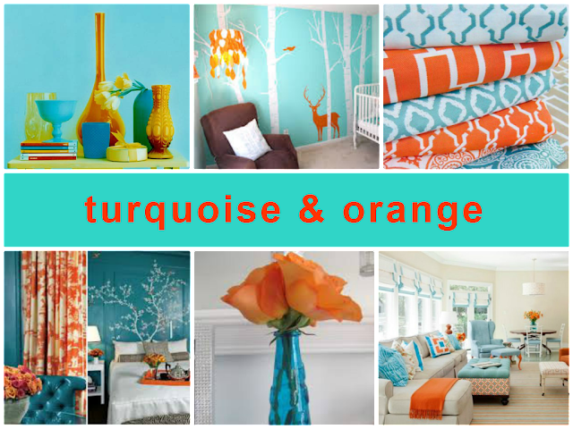 turquoise and orange combination for home decoration