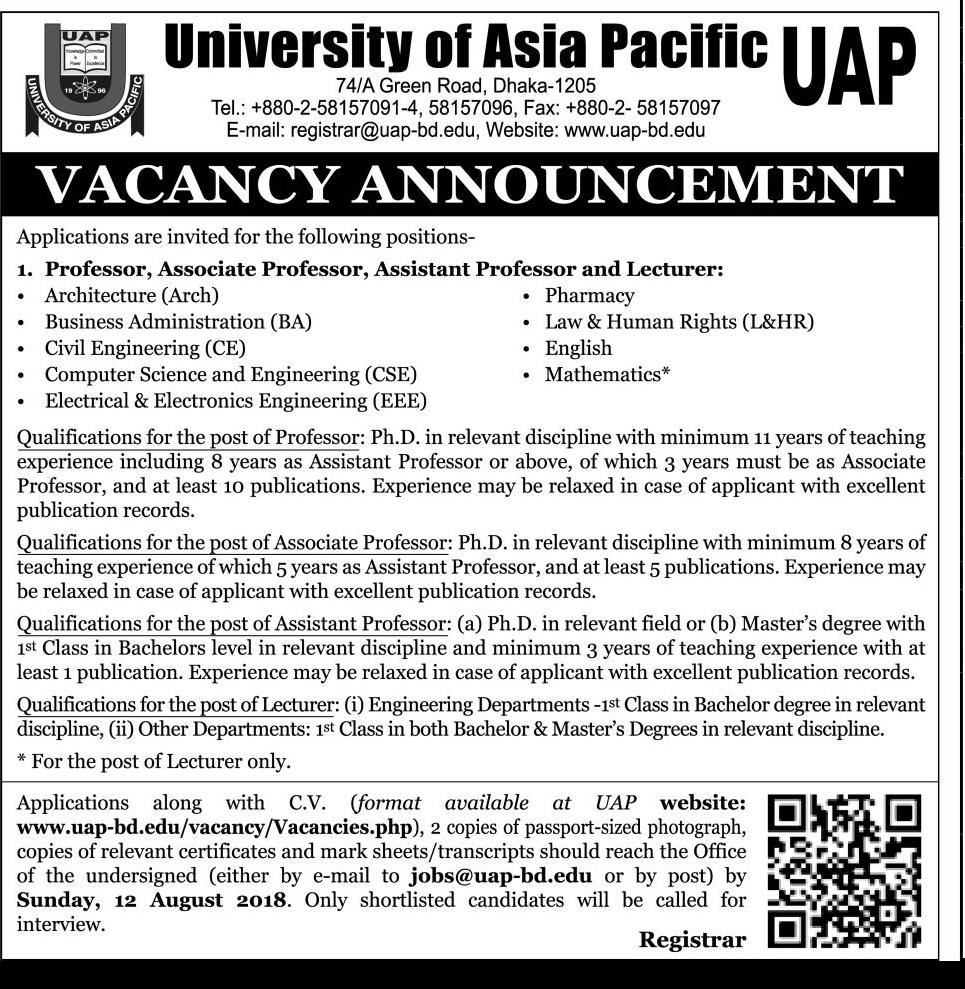 University of Asia Pacific (UAP) Job Circular 2018